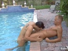 Horny gays fucking at outdoors pool