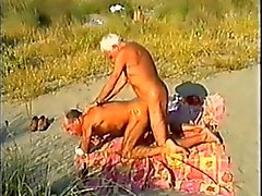 Tanned beach daddies bareback, with spectators