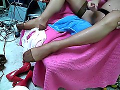 NEW!! Tan RHT stockings and double cum!