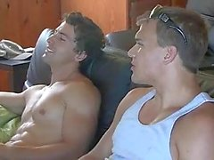 Two gays jerking their cocks