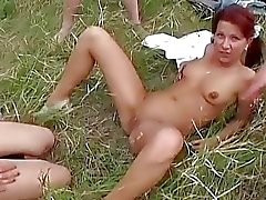 Perverted bisexual gangbang outdoor
