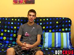 Young twink Max Morgan interview before masturbation cumshot