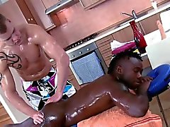 Black straighty gets hard for rub