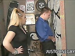 Straight stud Billy Dewitt gets a gloryhole blowjob while