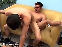 Alejandro is on his knees sucking Marcos hard dick