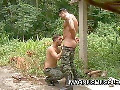 Horny military muscled gay studs doing some intense training