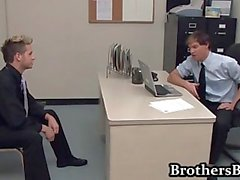 Brad fucking and wanking in the office part1