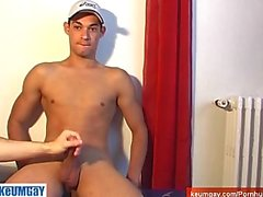 Straight sport guy serviced: Marco 22 y.o get wanked his huge cock by a guy