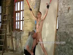 Roped Leo Fox gets his cock tormented by Sebastian Kane